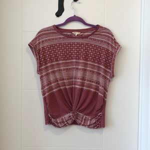 Lucky Brand Red & White Patterned Blouse